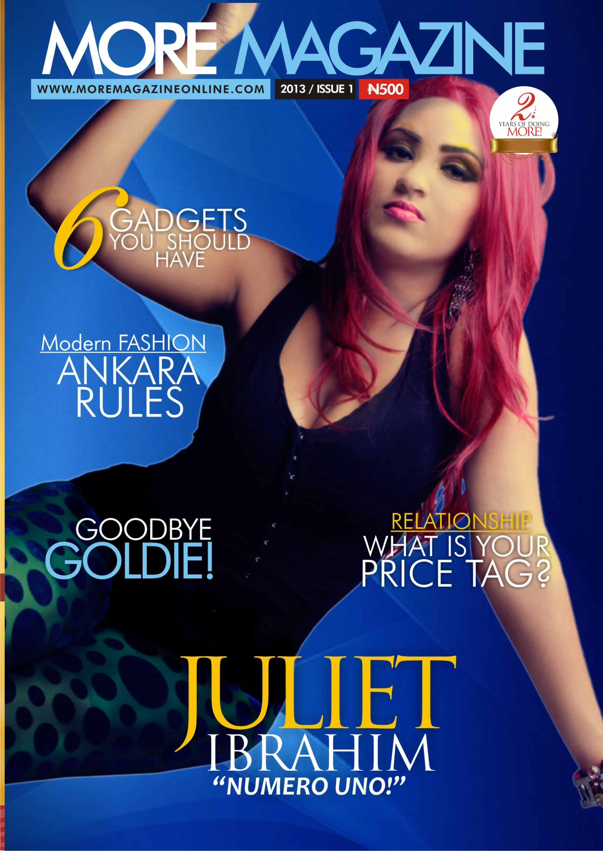 More Magazine November 2014 Issue: Ghanaian Movie Star Juliet Ibrahim Rocks Pink Hair! Check