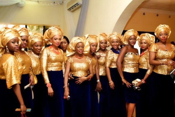 Gold Sequin & Navy Blue Velvet Aso-Ebi