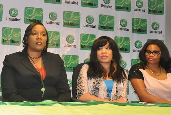 Brenda Akhigbe of Glo Post-paid Sales and Glo ambassadors, Monalisa Chinda and Chidinma Okebalama (Chee) during the launch of Glo's first-of-its-kind post-paid package, Glo Infinitiser in Lagos