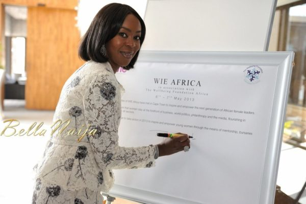 Toyin Saraki signing the WIE pledge