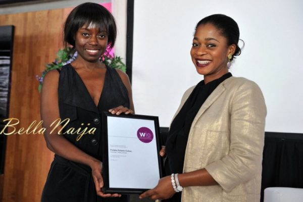 Dee Poku presenting Folake Folarin-Coker with the WIE Enterprise Award.
