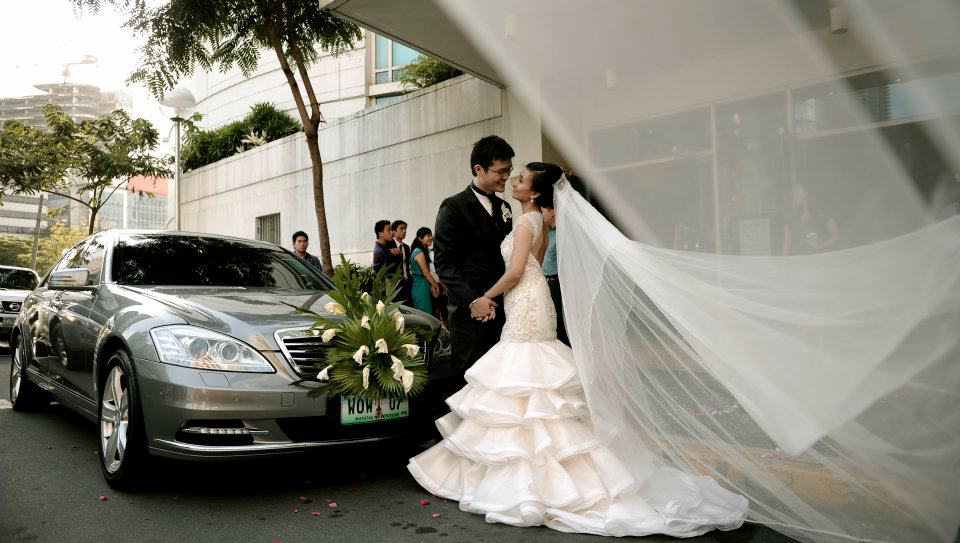 Real Bride with Layered Chapel Length Skirt