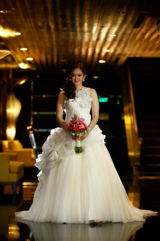 Real Bride wearing Francis Libiran Ball Gown