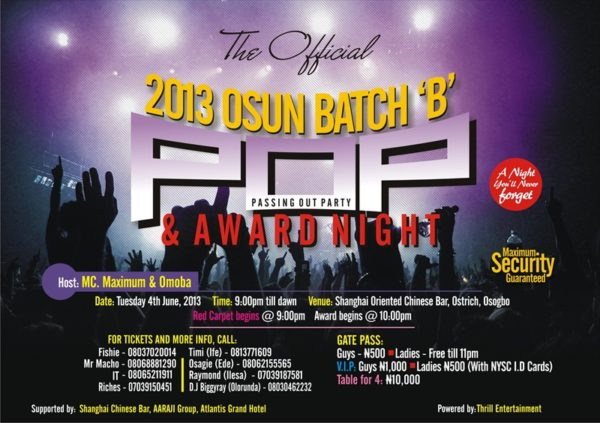 The Official Osun Batch B Pop Party & Awards Night - May 2013 - Events This Weekend - BellaNaija