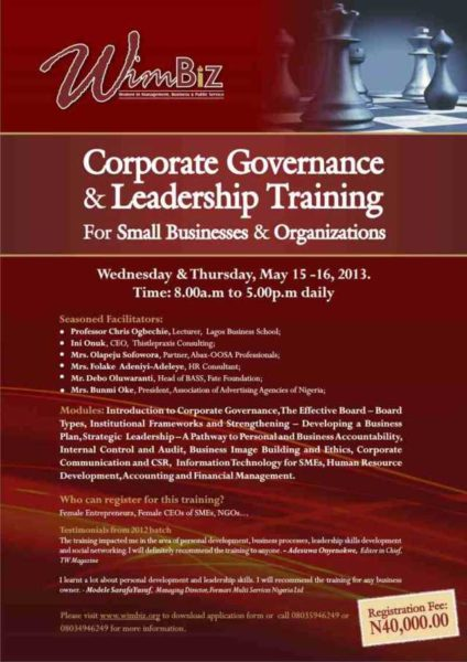WIMBIZ Corporate Governance & Leadership Training - BellaNaija - May 2013