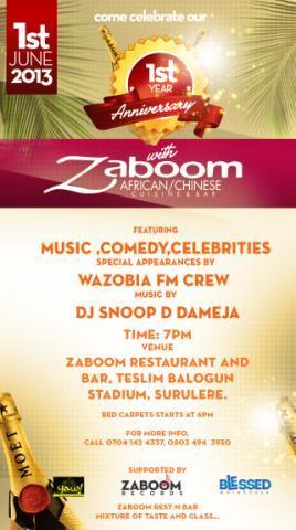 Zaboom Restaurant 1st Year Anniversary