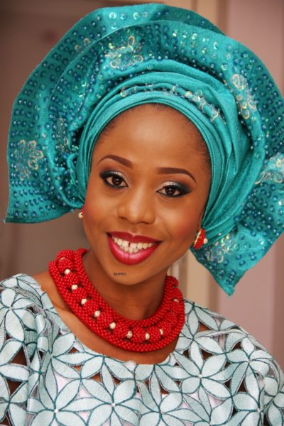 Yetunde in Aquamarine (Blue) Sequin Gele - Makeup by BMPRO