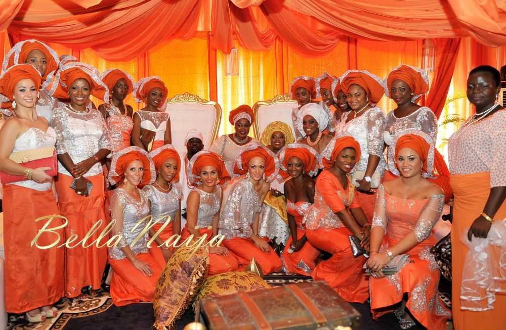 BellaNaija_Weddings_Sequins_Orange_Silver_Gele_asoebi