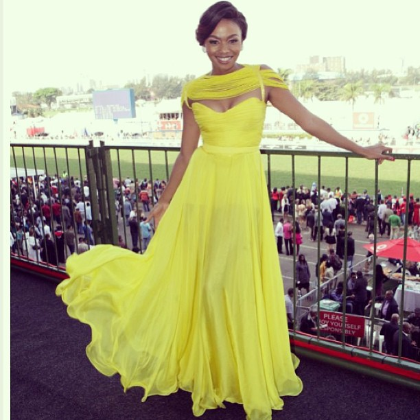 Bonang Matheba in a canary yellow Gert-Johan Coetzee dress