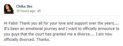 Chika Ike Divorced - July 2013 - BellaNaija