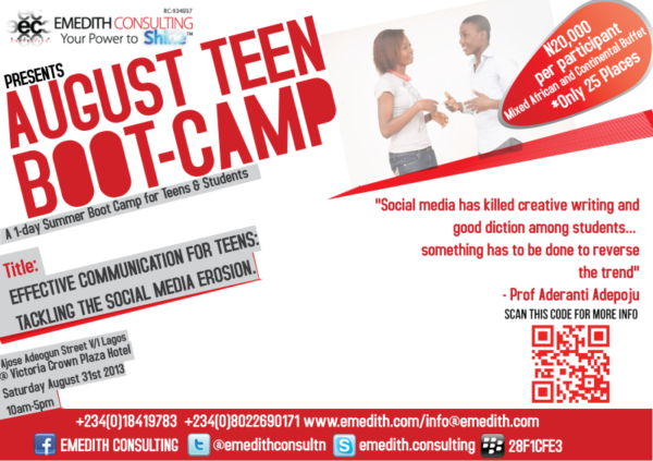 Emedith Consulting August Teen Boot-Camp - BellaNaija - July2013