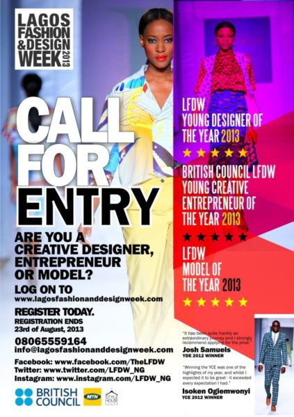 Lagos Fashion and Design Week Call for Entry 2013 - BellaNaija - July2013