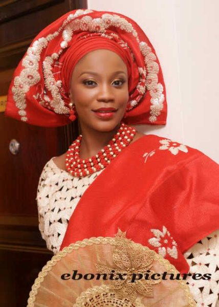 Olamide in Red Gele with Gold Sequins | Photo by Ebonix