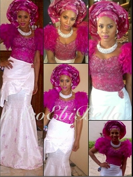 aso ebi nigerian traditional wedding pink gele