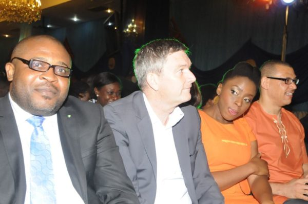 .L-R: Corporate Affairs Adviser, Nigerian Breweries Plc, Mr. Kufre Ekanem; Managing Director/CEO, Mr. Nico Vervelde; Creative Director, Farafina Trust, Chimamanda Adiche and Dr. Ivara Esege, at the 2013 Literay Evening by Farafina Trust, sponsored by Nigerian Breweries, held at the Oriental Hotel, Victoria Islan, Lagos.