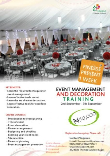 Events Management Decorating Skills With The Finesse 1 Week Training