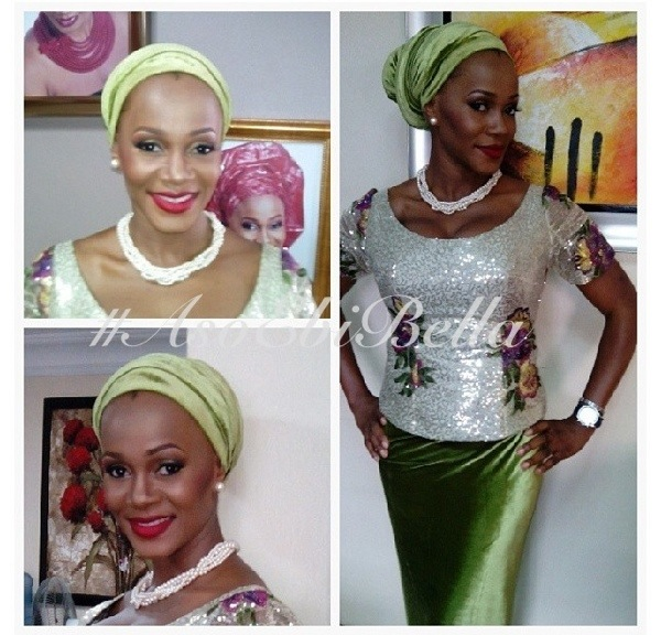 velvet lace aso ebi nigerian naija wedding bellanaija headwrap