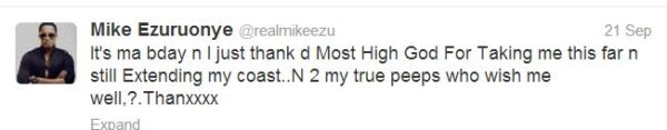 Mike Ezuruonye Tweet - September 2013 - BellaNaija