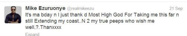 Mike Ezuruonye Tweet - September 2013 - BellaNaija