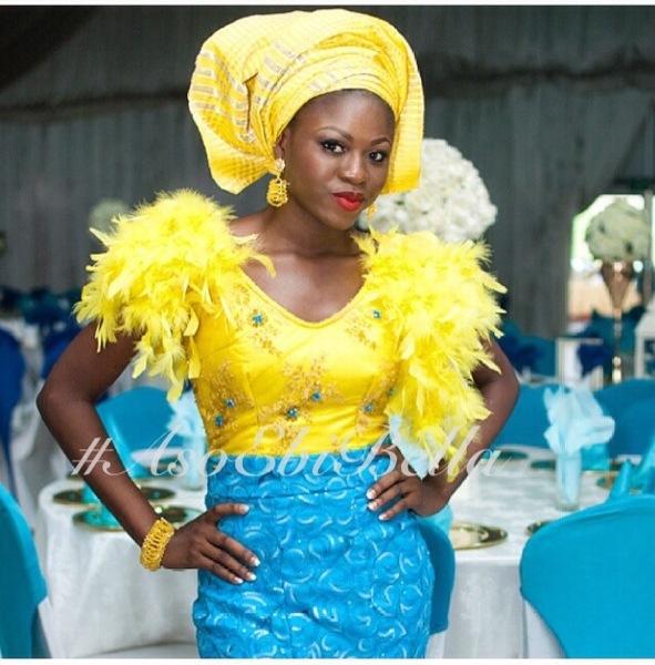 gele ichafu nigerian naija aso ebi traditional wedding velvet feathers top