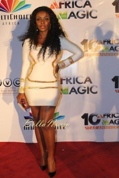 Yvonne Okoro in Sass & Bide, Christian Louboutin heels & Solano clutch