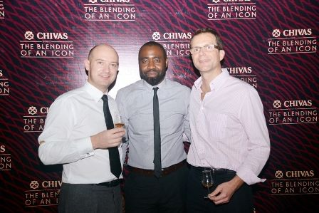 Chivas Global Brand Ambassador , Max Warner, Brand Manager Chivas, Samuel Odesanmi and Olivier Fages, MD Pernod Ricard Nigeria, at The Chivas Blending of an Icon experience.
