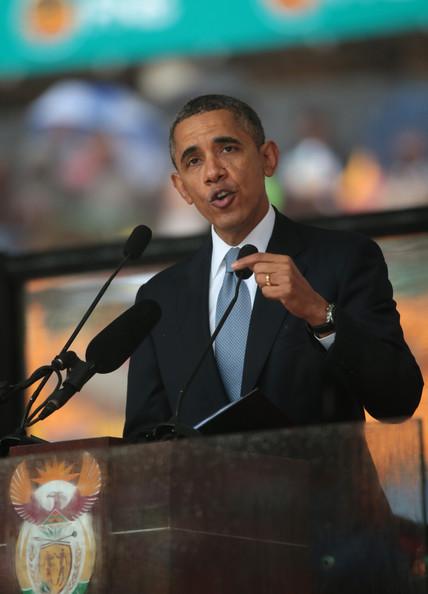 President Barack Obama at Nelson Mandela's Memorial Service in SA