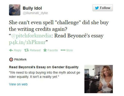 "gender equality is a myth beyonce s essay you won t  ""gender equality is a myth"" beyonce s essay you won t believe the reactions"