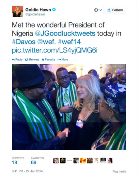 Goldie Hawn & President Goodluck Jonathan - January 2014 - BellaNaija 01