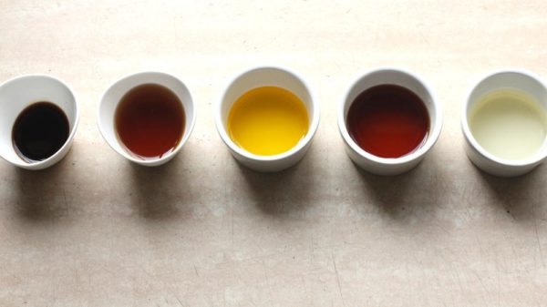 L-R (Dark Soy Sauce, Fruit Vinegar, Mustard Oil, Rum, Coconut Oil)