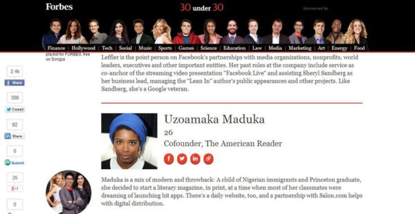 Uzoamaka Maduka on Forbes - January 2014 - BellaNaija