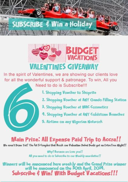 AfricHolidays Budget Vacations Valentine's Giveaway - BellaNaija - February2014