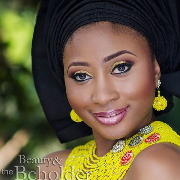 Black Aso Oke Gele, BellaNaija Nigerian Wedding