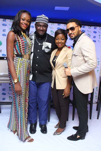 Past winners - Yeka Onka, Moses Obi-Adigwe & Mercy Chinwo, with host IllRymz