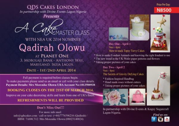 QDS Cakes Classes - Bellanaija - February 2014