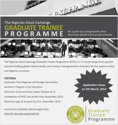 The Nigerian Stock Exchange Graduate Trainee Programme - BellaNaija - February 2014