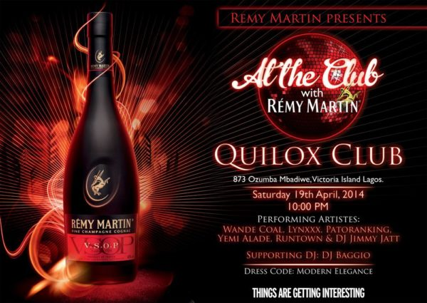 At The Club with Remy Martin April 2014 flyer