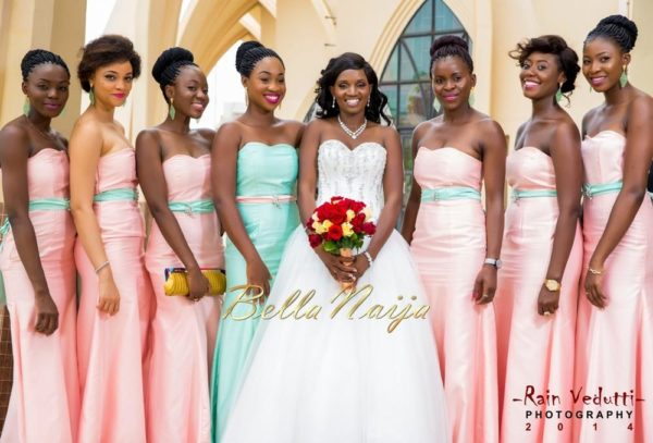 Ese Walter & Benny Ark's White Wedding in Abuja | BellaNaija -Bride with bridesmaids (2)