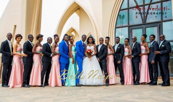 Ese Walter & Benny Ark's White Wedding in Abuja | BellaNaija -Couple with bridal train