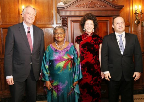 Governor of the State of Para, Brazil Simaol Jatene, Minister for the Economy Dr. Ngozi Okonjo-IwealaPeggy Rockefeller Dulany, Chair of Synergos,  and CEO of Unilever, Paul Polman