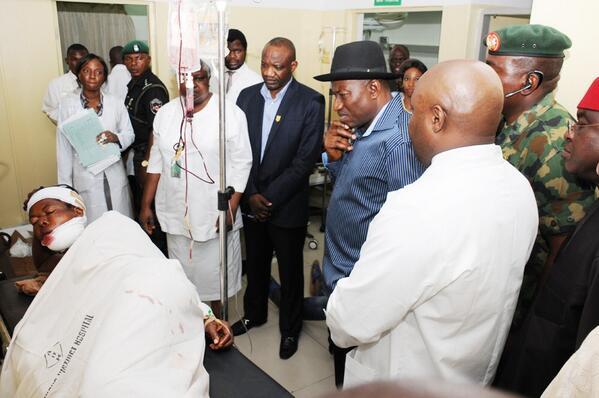 Jonathan Visits Nyanya Bombing Scene & Victims at Hospital - April - BellaNaija.com 03