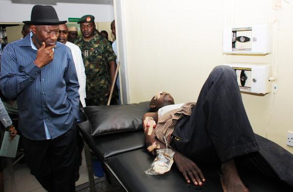 Jonathan Visits Nyanya Bombing Scene & Victims at Hospital - April - BellaNaija.com 04