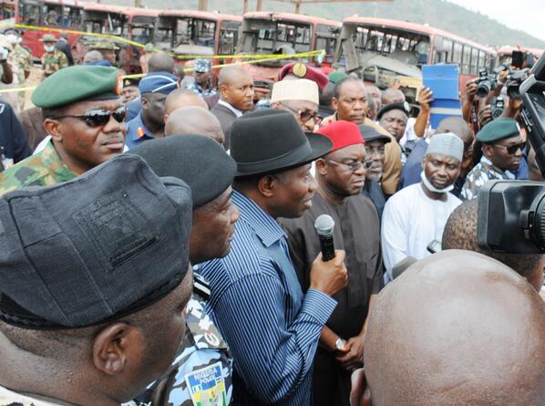 Jonathan Visits Nyanya Bombing Scene & Victims at Hospital - April - BellaNaija.com 07