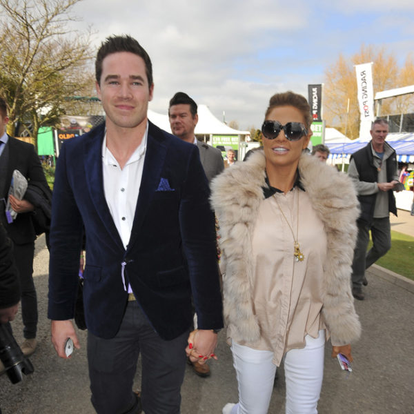 Katie Price and husband Kieran arrive on day one of the Cheltenham Festival