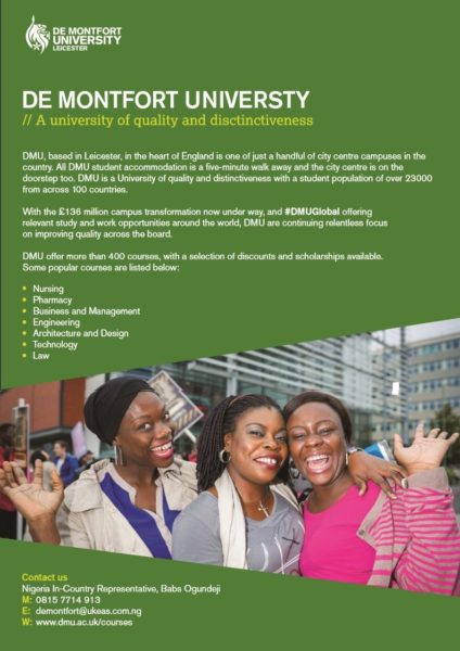 Get major scholarship discounts with de montfort - De montfort university international office ...
