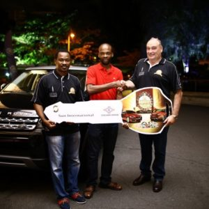 Left to right_ Uche Ogbu - Marketing Manager, Federal Palace Hotel & Casino_ Mr Kareem Balogun - Winner of the Range Rover Evoque_ David Kliegl - General Manager, Federal Palace Hotel & Casino