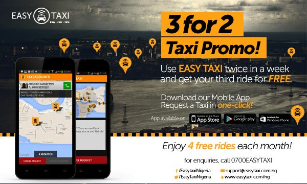 3 for 2 Easy Taxi Promotion - Bellanaija - July2014