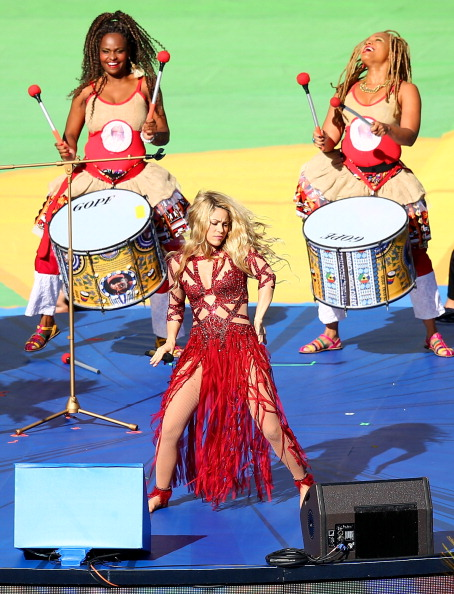 Singer Shakira performs during the closing ceremony prior to the 2014 FIFA World Cup Brazil Final