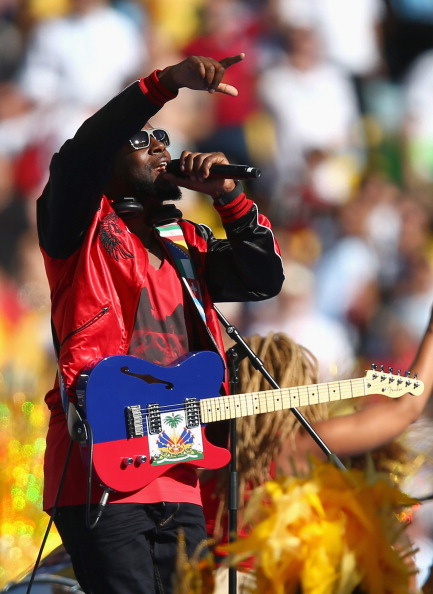 Musician Wyclef Jean performs during the closing ceremony