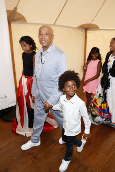 Russell Simmons & Kids including Aoki Lee Simmons, Ming Lee Simmons + Kenzo Lee Hounsou